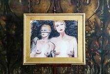 Striking Risqué Nude Female Charcoal Portrait in Gold Frame
