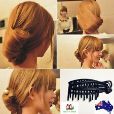 Women DIY Fast Hair Styling Volume Boost Comb Clip French Twist Updo Bun Maker