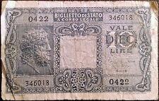 Italy banknote - 10 dieci lire - year 1944 - WW2 - Jupiter