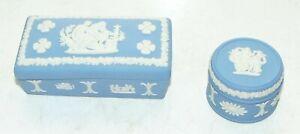 Wedgwood Blue Jasper Rectangular Lidded Trinket Box and Pill Box