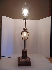 Nautical/Lantern Style Table Lamp w/ Marble & Wood Base