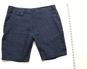 Toscano Men's Linen Flat Front Casual Blue Short Shorts Size 34 NWOT