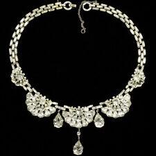 Trifari Philippe Diamante Baguettes Chaton Flower Clusters Pendant Necklace
