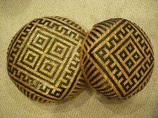 2 Vintage Handmade Ethnic Boho Brown and Tan Woven Basket Bowls Wall Hanging