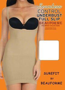 SEAMLESS TUMMY CONTROL UNDERBUST BODYSHAPER  SLIP DRESS, SIZE 8-30, BLACK & NUDE