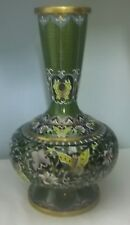 Hand Made Cloisonne Vase With Butterflies And Flowers