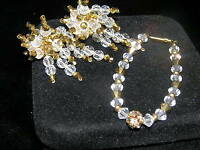 Vintage Wedding Perfect Clear & Gold Faceted Bead Cluster with Dangles Clip Ear