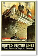 United States Lines - The American Way To America - NEW Vintage Reprint POSTER