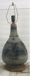Large Vintage Pottery Ceramic Table Lamp Mid century modern retro wood base mcm