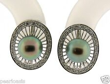 7.7MM Black Japanese Akoya Pearl Earrings w/Diamonds 14K White Gold, 7.7gr. NEW