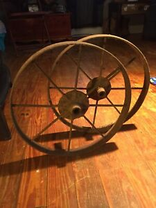 "Antique(2)~Cast Iron~8~spoke 15""~vintage Small Wagon Wheels Indoor/outdoor Decor"