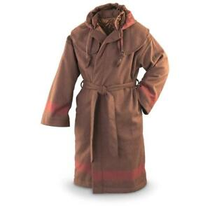New Mountain Man Hooded Wool Blend Capote Brown Multiple Sizes