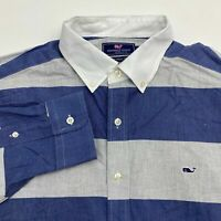 Vineyard Vines Button Up Shirt Men's Size Large Long Sleeve Blue Gray Striped