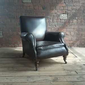 Antique Chocolate Brown Leather Armchair
