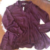 Loft Womens Medium Blouse NWT Burgundy Long Sleeve Button Up Nice Shirt
