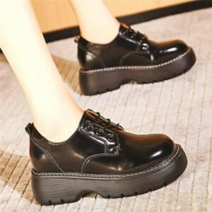 Creeper Shoe Women Cow Leather Round Toe Ankle Boots Platform Oxfords Comfort