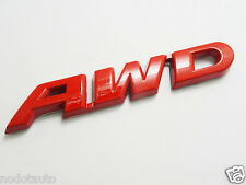 Car Metal Chrome RED AWD Four Wheel Drive Badge for Highlander Emblem Sticker