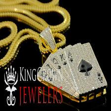 Real Silver Royal Flush Spad Ace of Spades Poker Card Pendant Diamond Chain Set