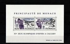 Monaco  bloc jeux olympiques de Calgary  de 1988   num: 40  **