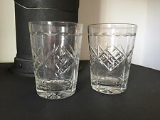 Set Of 2 Cut Glass Crystal Whisky Glasses Tumblers Vintage Retro Tableware