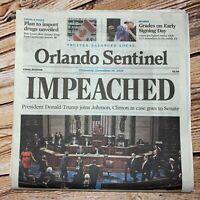 Donald Trump Impeached Newspaper Orlando Sentinel 12 / 19 / 19
