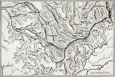 CARTE de la CHAÎNE des MONTAGNES de LANGRES - Gravure du 19e s.