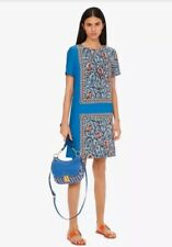 Tory Burch Printed Shift Dress Blue Something Wild Size 14 NWT
