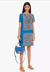 Tory Burch Printed Shift Dress Blue Something Wild Size 14 NWT