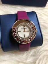 NWT Swarovski Silver Stainless Steel Crystal WATCH With Purple Leather Strap