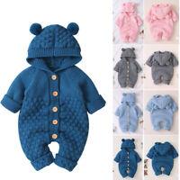 Newborn Infant Baby Girl Boy Kid Winter Warm Coat Knit Outwear Hooded Jumpsuit