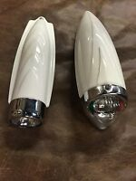 RETRO Bicycle headlight (1) ONE Two Tone vintage  white & chrome bike light