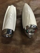 Bicycle headlight Vintage  Retro Two Tone white and chrome bike lights  LOT OF 2