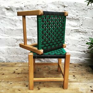 Rare Pair Vintage Plastic Rope Weave Black / Green Foot Stool Chairs Plant Stand