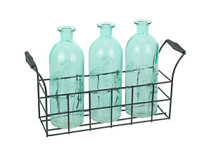Set of 3 Glass Bottle Bud Vases in Rustic Metal Tray