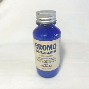 Vintage Bromo Seltzer Cobalt Blue Glass Bottle 2 5/8 oz-COMPLETELY FULL