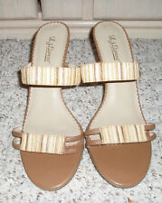 "New~L J SIMONE 'Charm Two"" Slide High Heel Stripe Sandal Shoe~Tan w/Gold~Size 9"
