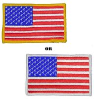 AMERICAN FLAG EMBROIDERED PATCH iron-on GLD or WHT BORDER USA US United States