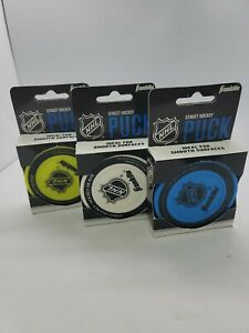 3 FRANKLIN SPORTS NHL STREET HOCKEY PUCK ~ NEW IN PACKAGE BLUE - WHITE - YELLOW