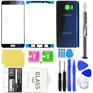 Front Screen Glass Back Replacement Glass Kit for -Blue- Samsung Galaxy Note 5