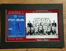 CINCINNATI BEARCATS 1961-62 NCAA Champs matted pic of team & finals game program
