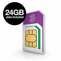 Three Mobile Broadband Sim Card with 24GB  Data for use in iPad, Tablet, Dongle