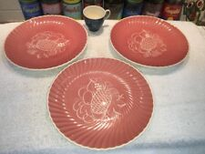 (3) Susie Cooper Art Deco Swirl Fruit & Leaf Plates & Demitasse After Dinner Cup