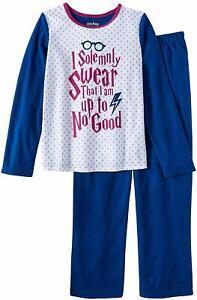 HARRY POTTER HOGWARTS Basic Fleece Blue Pajamas Sleepwear Girls Size 6-6X NWT