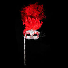 Handheld Stick Venetian Masquerade Mask for Women M6150 - Silver/Red
