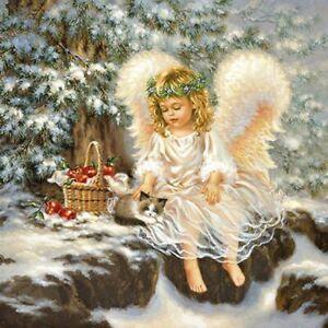4 x Single Paper Table Napkin/Decoupage/Napkin Art/Christmas/Little Angel