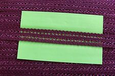 Cotton BURGUNDY Trim with FUCHSIA Metallised Sparkle20mm 2 Metres 003187 Birch