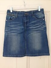 Jeans Denim Cotton Skirt Stretch w Crystals Silver Metal Decoration Sz-W2