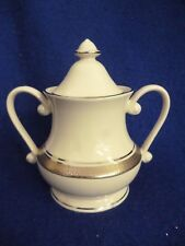 PICKARD GENEVA FINE CHINA SUGAR BOWL WITH LID COVERED  PLATINUM ENCRUSTED IVORY