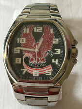 Tommy Hilfiger Red White & Blue Gem Paved US Eagle & Flag Firebird Dial  Watch