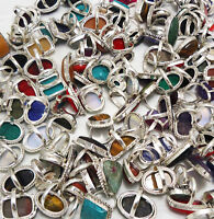 Turquoise & Mix Gemstone 925 Sterling silver Overlay Wholesale Lot Rings 10pcs